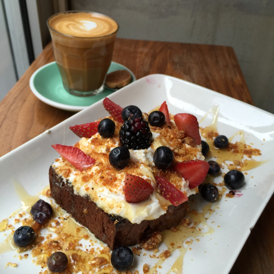 Sweet Uncle Fred---Toasted Banana Bread With Ricotta, Strawberries, Honey, and Toasted Almonds