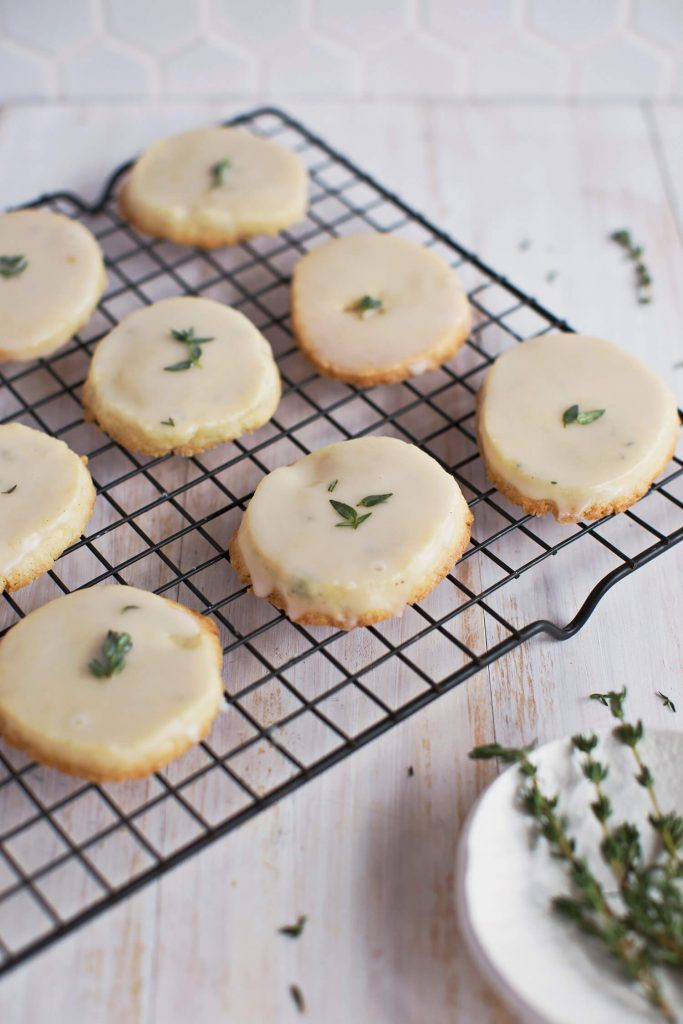 Glazed Vanilla and Thyme Cookies (Freezer Ready)