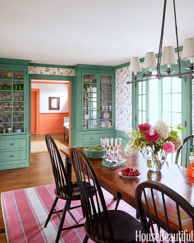 Feast Your Eyes Gorgeous Dining Room Decorating Ideas: Colorful New England Farmhouse