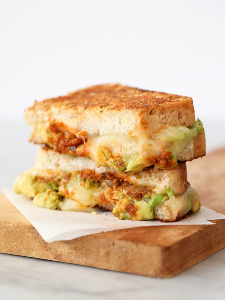 Garlicky Avocado Grilled Cheese With Pesto via Arsenic and Old Place