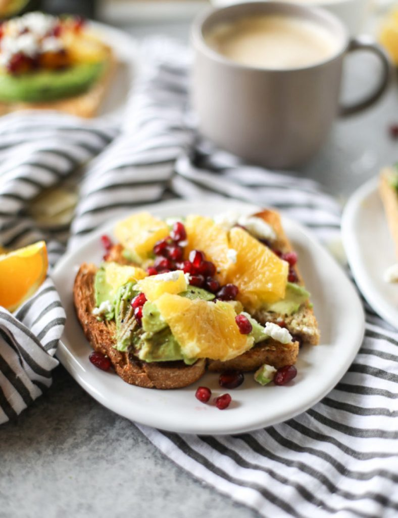 Avocado Toast With Citrus, Pomegranate, and Goat Cheese via Arsenic and Old Place